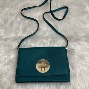 Kate Spade Dark Green Leather Mini Crossbody Bag